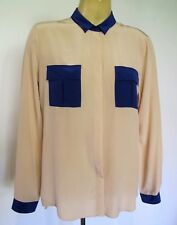 SHIRT Long sleeve SILK Blouse Top Country Road Sz M Beige Royal Blue Chic Class