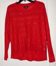 Red IN Sequined Sweater Womens Medium  NWT!