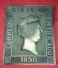 PLAQUE MÉTALLIQUE, TIMBRE DE POSTE, 10 REALES DE1850. ESPAGNE. XIX
