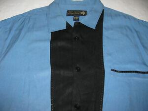 Nat Nast 100% Silk Black Blue Short Sleeve Button Down Bowling Shirt Large