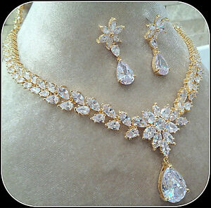 18k Yellow Gold Over AAA Brilliant Stone Necklace Earring Set Bridal Party