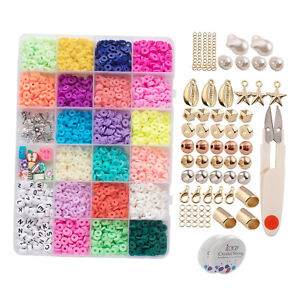 3200pcs 6mm Polymer Clay Flat Round Bead Spacer Beads with Pendant Scissors Kit
