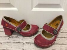 Used Women's Leather Raspberry Art Shoes Tate Block Heel Shoes Size Uk6 EU39