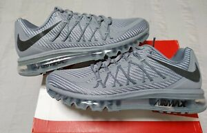 NIKE AIR MAX 2015 RUNNING  SHOES MESH COOL GREY - BRIGHT CRIMSON MENS SIZE 9.5
