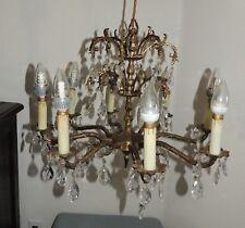"Vintage Spanish Brass 64 Czech Crystals Chandelier 8 Candlestick Lights 21"""
