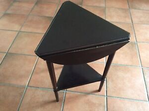 THE BOMBAY COMPANY Drop-Leaf 3 Leg Side Table - Round To Triangle Top - Mahogany
