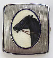Vintage German 935 Sterling & Enamel Cigarette Case with Black Horse