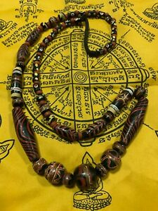 TIBETAN OLD BEAD ANTIQUE BUDDHIST TIBET GENUINE  NECKLACE DZI AMULET THAI AMULET