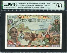 Equatorial African States 1963, Specimen 5000 Francs, P6s, PMG 63 UNC