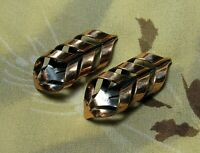 Modernist 1950/'s Vintage MATISSE signed Red /& Black Enamel on Copper Rhomboid Ear Clips Atomic Era Mid Century RARE