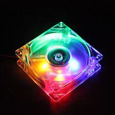 80mm 8cm 80x80x25mm 4 Multi-Color LED 12V PC CPU Case Cooling Cooler Fan 4pin