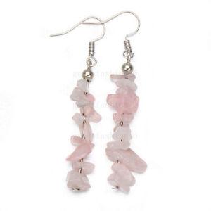 Dangel Earrings 1Pairs Rose Quartz Irregular Natural Stone beads Stainless steel