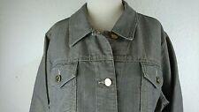 Chicos Platinum Denim 3 Jacket Gold Metallic Buttons Shimmer Sheen Button Up E
