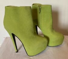 "Fabulous Bebo Platform Heels Uk Size 4 In Lime Green Colour 6"" Heel"