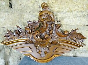 Antique French Rococo Hand Carved Wood Walnut Pediment - Shell Louis XV Style