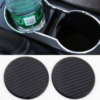 2Pcs Car Vehicle Water Cup Slot Non-Slip Carbon Fiber Look Mat Accessories Black