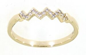 Solid 14K Yellow Gold 0.06CT Real Natural Diamond Delicate Daily Wear Fine Ring