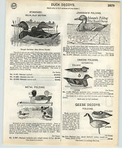 1935 PAPER AD Johnson's Folding Duck Decoy Atomatic Canvas Metal Wood Wooden