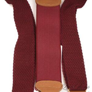 UNIQUE Trafalgar Maroon Wine Crochet Knitted Silky Gold Clinch Suspenders Braces