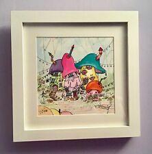 Original watercolour painting of Fairy Toadstool village