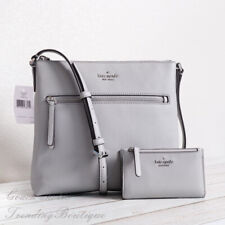 NWT Kate Spade Jackson Top Zip Leather Crossbody & Bifold Wallet in Nimbus Grey