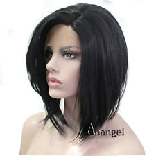 Black Bob Lace Front Wig Straight Short Synthetic Hair for Women Fiber wigs