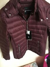 ZARA Oxblood Burgundy Short Quilted Feather Down Coat Anorak Jacket Large L
