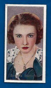 CARRERAS LTD Barbara Stanwick TOBACCO cigarette CARD #32 1936 FILM movie STARS