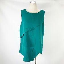 White House Black Market XL Layered Green Blouse Sleeveless Keyhole WHBM