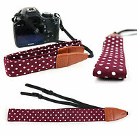 Vintage Polka Dot Carry Strap with Faux Leather Detailing for Olympus OM-D E-M1