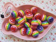 10pcs Bright Rainbow Beads Chunky Round Resin Jewellery DIY - 20mm