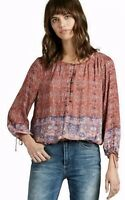 Lucky Brand Boho Red Tapestry Print Peasant Long Sleeve Top Women's Size Medium