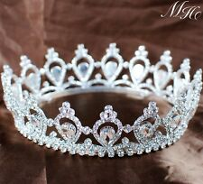 Handmade Tiara Crown Clear Crystal Queen Girls Wedding Bridal Party Pageant Prom