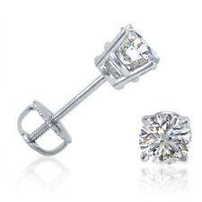 AGS certificado 1/2ct Peso total (G/H I1-I2) Diamante Pendientes con Pasador en oro blanco 14K