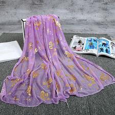 Fashion women Purple sunscreen scarf chiffon printing thin section long scarf
