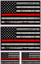 THIN RED LINE AMERICAN FLAG DISTRESSED FIRE DEPARTMENT COMBO DECALS STICKER x 4