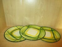 "Vernon Kilns Vernonware Gingham Set 3 Luncheon Plates 9 3/4"" Made USA 1949-1958"