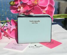 🌸 NWT Kate Spade Spencer Small Bifold Wallet Leather Frosted Spearmint Blue New