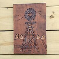Vintage Wood Carving Windmill Folk Art 1975 Signed Carved Farm House Farmhouse