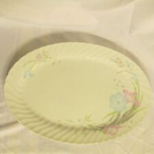 "SERVING PLATTER 14"" OVAL SWIRL RIM BLUE PINK FLOWERS MADE IN CHINA"