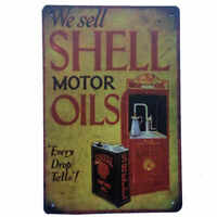 We Sell Shell Motor Oils Tin Sign Petrol Man Cave Bar Shed Garage 30cm x 20cm