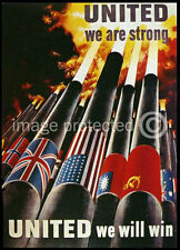 British WW2 Propaganda Poster United We Are Strong 18x24