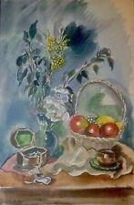 """Hermine DAVID:grande aquarelle """"Nature morte aux fleurs, fruits et bijoux""""/1946/"""