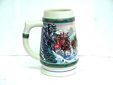 """1993 Budweiser Holiday Collection Clydesdale Christmas """"Special Delivery"""" Stein"""