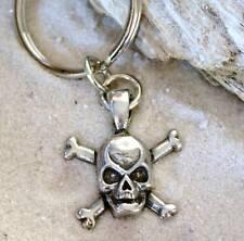 BIKER PIRATE SKULL CROSS BONES Pewter KEYCHAIN Key Ring