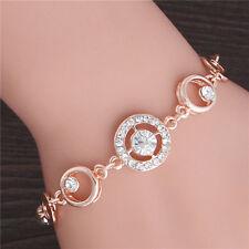 Fashion Women Rose Gold Cubic Zirconia Cuff Adjustable Bracelet Bangle Wristband
