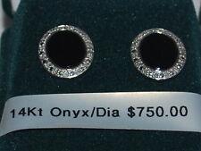 14K White Gold Onyx and diamond earrings