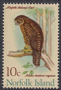 Norfolk Island 1970  - 71 QE2 10ct Boobook Owl MM SG 110 ( B769 )