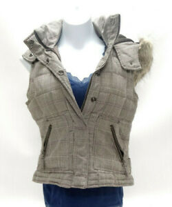 AEROPOSTALE WOMENS BROWN PLAID FAUX FUR LINED HOODED DOWN VEST ~ MEDIUM in EUC