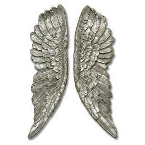 Large Angel Wings Wall Mounted 61cm Antique Silver Wall Hanging Home Deco